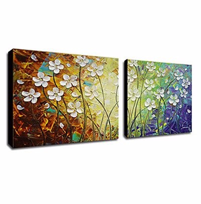 Buy 2 panels Hand Painted oil painting knife flower on Canvas Wall Art Cuadros Decoration Stretched Frame Ready to Hang cheap
