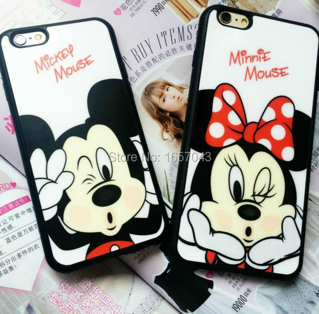 Fashion Cover For iPhone 7 7Plus 6 6s Plus 5 5s SE Case Mickey Minnie Mouse Lovers Mobile Phone Cases Silicone Shell