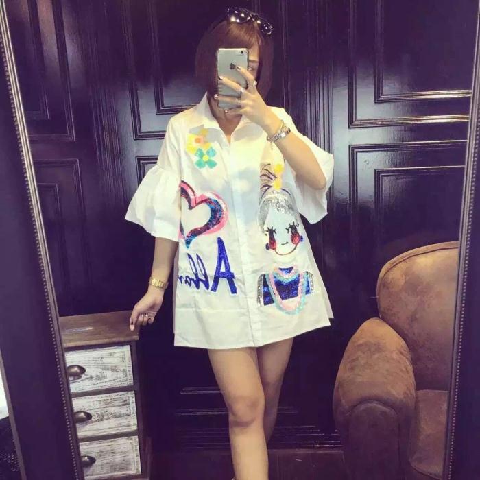 Plus Size New Summer Women Shirts Flare Sleeve Loose Letter Sets Child Sequins Cartoon Wet Blouse Shirt White 846(China (Mainland))