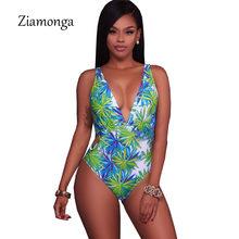 Ziamonga 2018 New Arrival Sexy zielony liść Skinny głębokie V Neck Backless Sexy plaża body letnie kobiety pajacyki panie kombinezon(China)