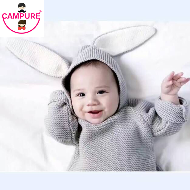 2016 New Children Sweaters Rabbit Ears Boys Girls Sweater with Hooded Wool Cotton Knitwear Winter Infant Sweater Kids Clothing(China (Mainland))