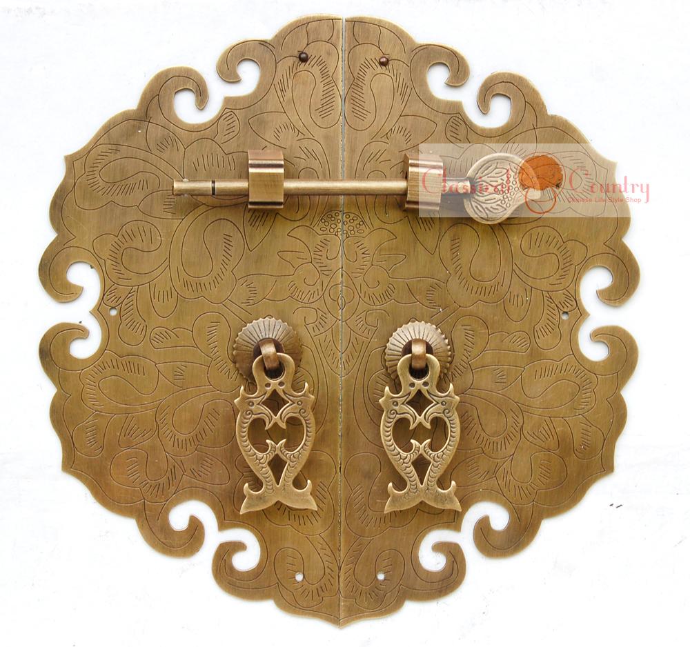 antique furniture brass hardware cabinet plate copper