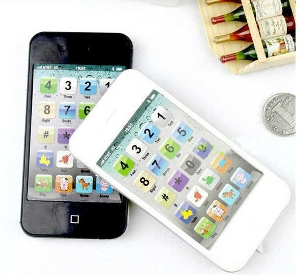 Free shipping iphone toy learning machine, kit's mobile phone, table farm learning machine black and white