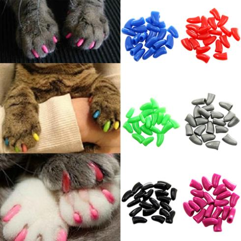 New 20Pcs Colorful Soft Pet Dog Cats Kitten Paw Claws Control Nail Caps Cover Size XS