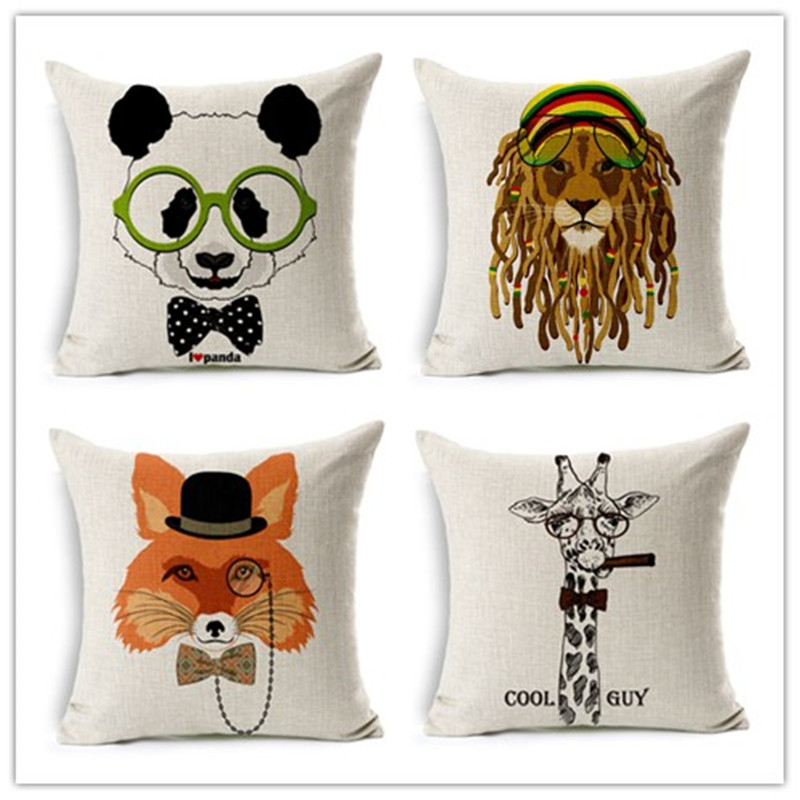 Adorable cartoon style cushion animal printed pillow bed - Fundas cojines sofa ...