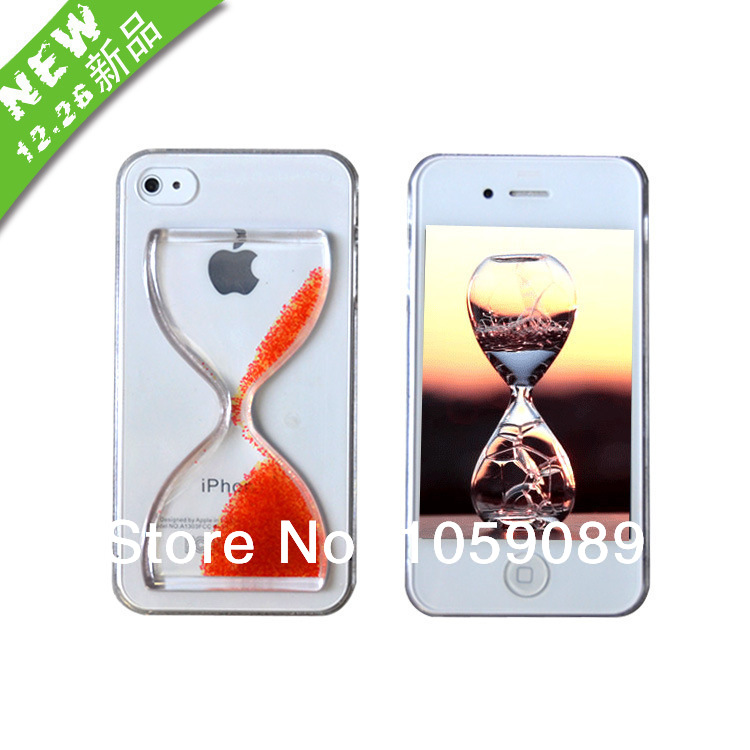 The new phone shell case for iphone5 time quicksand funnel phone manufacturers transparent protective cover hourglass(China (Mainland))