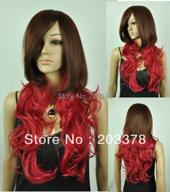 Pretty Long Wavy Auburn with Red mix Synthetic hair Wig party/cosplay hair (Free Shipping) 10pcs/lot mix order