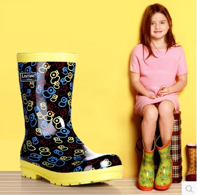 Children Rain Boots Mid-calf Rainboots Boys GIrls Graffiti Rubber Shoes Water Wellies - I'm with you store