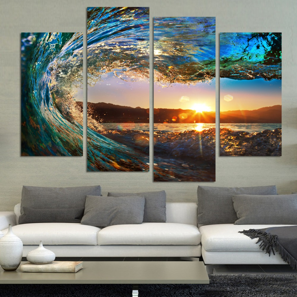 4 Panel Modern Seascape Painting Canvas Art Hdsea Wave