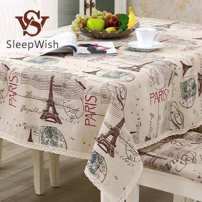 SleepWish Tablecloth Eiffel Tower Linen Cotton Table Cloth Rectangular Lace Edge Europe Table Cover 9 Sizes Hot(China (Mainland))