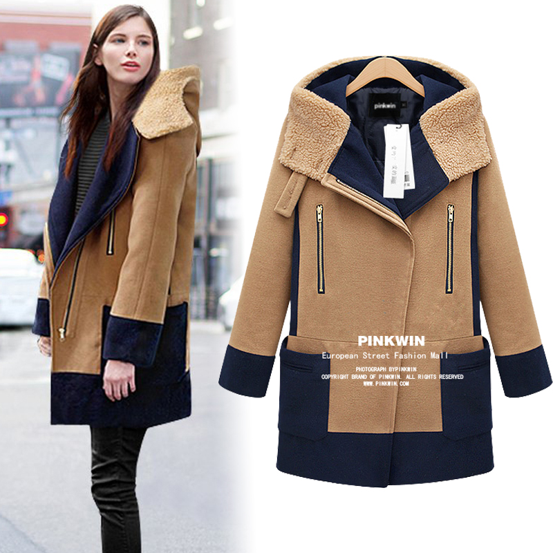 2015 Real Long Zipper Full Pockets Patch Designs Solid Casacos Winter New Wool Hooded Thick Woolen Coat Stitching Hit Color - Haiyan fashionable life boutique store