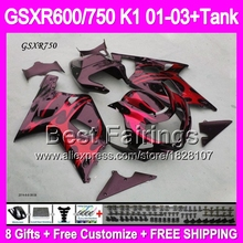 +Tank GSX R750 red SUZUKI K1 GSX-R750 01 02 03 N1A71 01-03 GSXR750 Red flames black GSXR 750 2001 2002 2003 Fairings - Best store