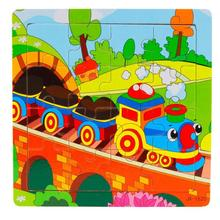 Colorful Cartoon Train Wooden Puzzle toys for Children Kids Learning Educational Toy Brain Teaser Wood Puzzles Toys(China (Mainland))
