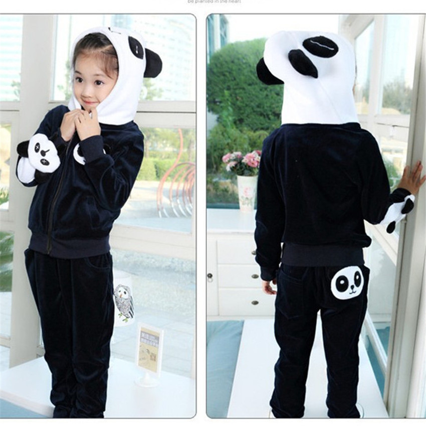 2pcs Girls Clothing Sets 2016 New Cotton Panda Pattern Letters Hooded  Coats + Pants Kids Clothes Toddler  Girl Costume For Boy<br><br>Aliexpress
