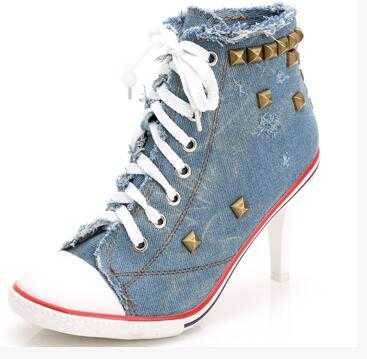 Фотография 2016 New Fashion Ladies Pumps Sapato Feminino Rivets Canvas Jeans Party Shoes Women Femme Denim High Heels Shoes S3030