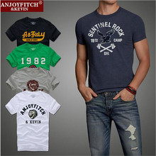 2016 Quality AF Anjoy&Fitch Brand Casual T Shirt 100% Cotton Tops & Tees Summer Men T-shirt Sport T Shirt Men Fitness Clothing