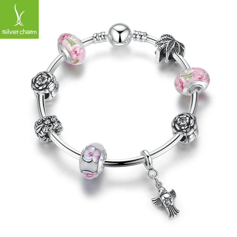wholesale 925 silver bird charms bangle bracelet for