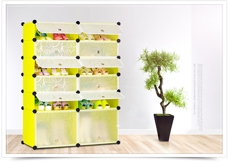 Simple DIY shoe rack creative modern multi-purpose shoe cabinet home furniture storage 6 layers living room decor(China (Mainland))