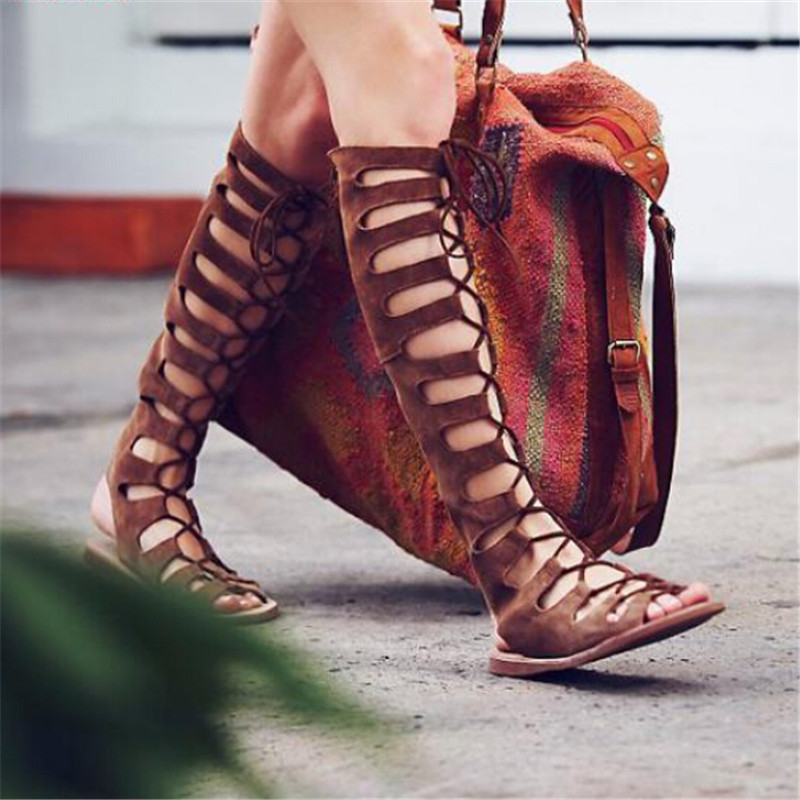 New Style Sandals Boots Flat Shoes Woman Boho Cut Outs Cross Tied Women Boots Lace Up Knee High Boots Roman Sandals Botas Mujer<br><br>Aliexpress