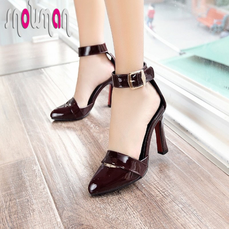 Super Big Size 33-48 Sexy Pointed Toe Women Sandals Hoof High Heels Ankle Strap Shoes Woman Less Platform Gladiator Sandals
