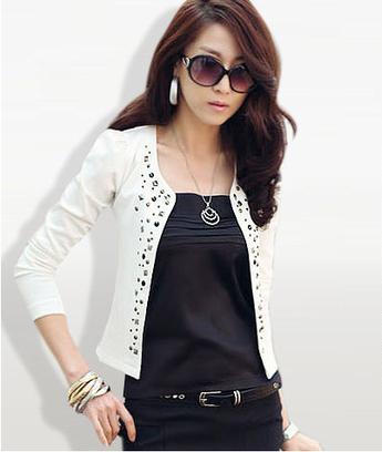 Fashion Blazer OL style,white black color,5 size choose women,short full blazer ladies, - Elgin Jin Store store