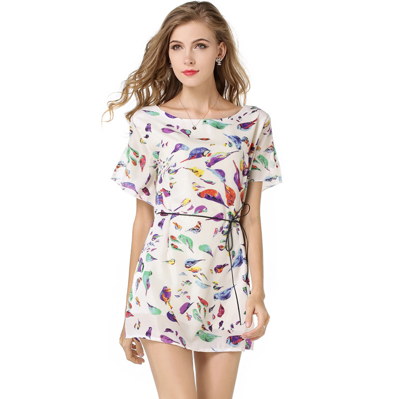 Brand New Fashion Lady Lace Dress Elegant Bird Floral Print Mini Dress Vintage O Neck No Sleeve Dress Casual Slim Dresses DA1039(China (Mainland))