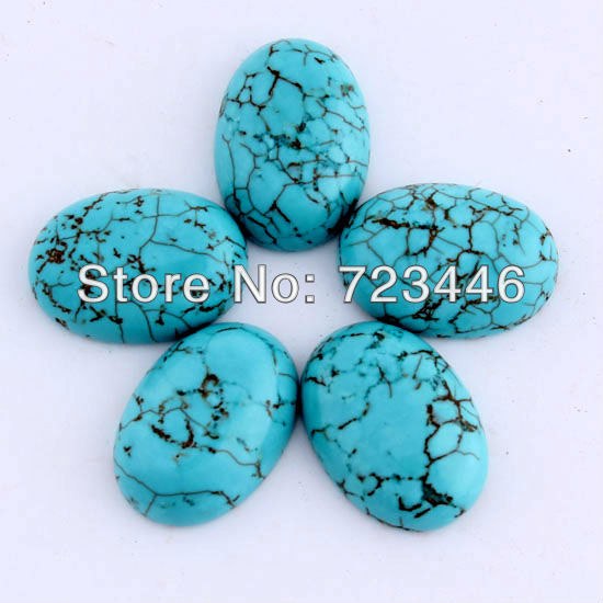 20pcs Turquoise Natural Stone Oval Cabochon Semi-precious Beads DIY Jewelry Making Accessories 13X18mm