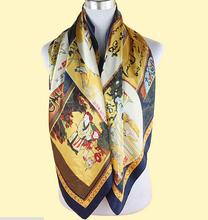2014 Silk Square Scarf Women Fashion Brand Chains Silk Painting Print  Scarves Polyester Shawl  Big Size 90x90cm FJ005