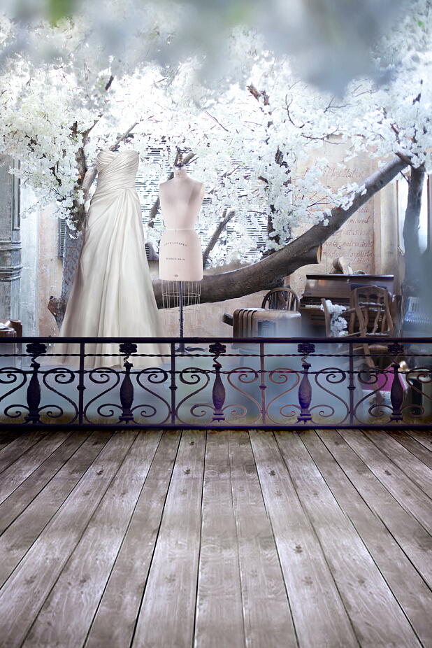 600CM*300CM(20ft*10ft )Full dress Cherry tree Iron bars wooden floor vinyl photo backdrops photography background studio 4251(China (Mainland))