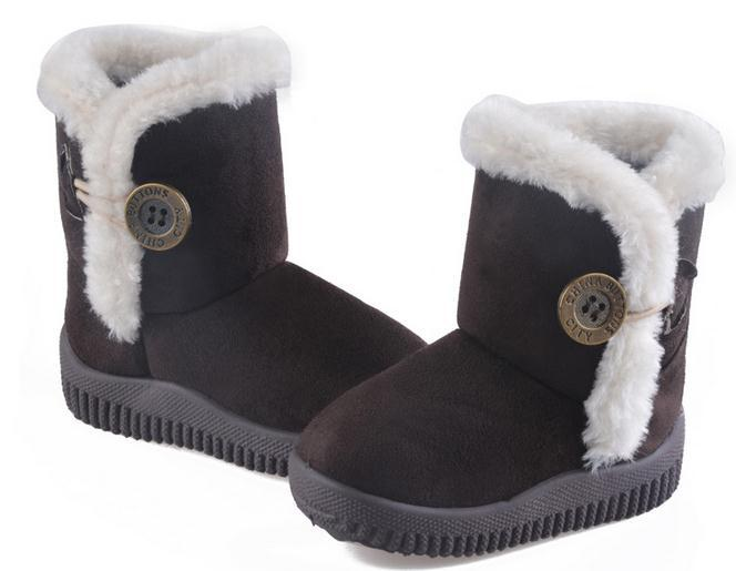 Fashion Kids Winter Snow Boots Baby Boys Girls Warm Cotton-padded Shoes Child Button Short Waterproof Non-slip Ankle - Beauty Life Online Store:208399 store