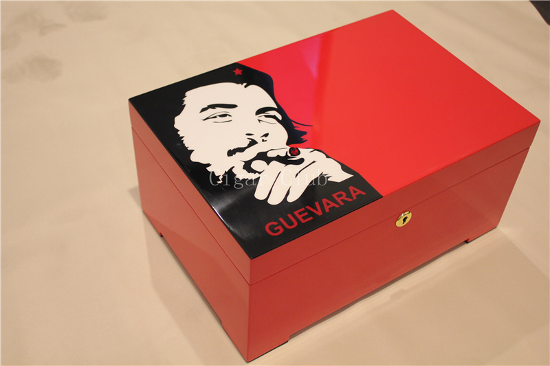 Che Guevara High Glossy Piano Finish Cedar Wood Cigar Humidor Cabinet Storage Box with a Tray Hygrometer Humidifier(China (Mainland))