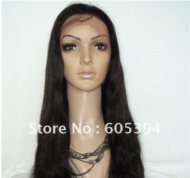 Queen hair  virgin brazilian  hair wigs  silk straight #1b Lace Front  wig! nature colour  8 10 12 14 16 18 20 22<br><br>Aliexpress