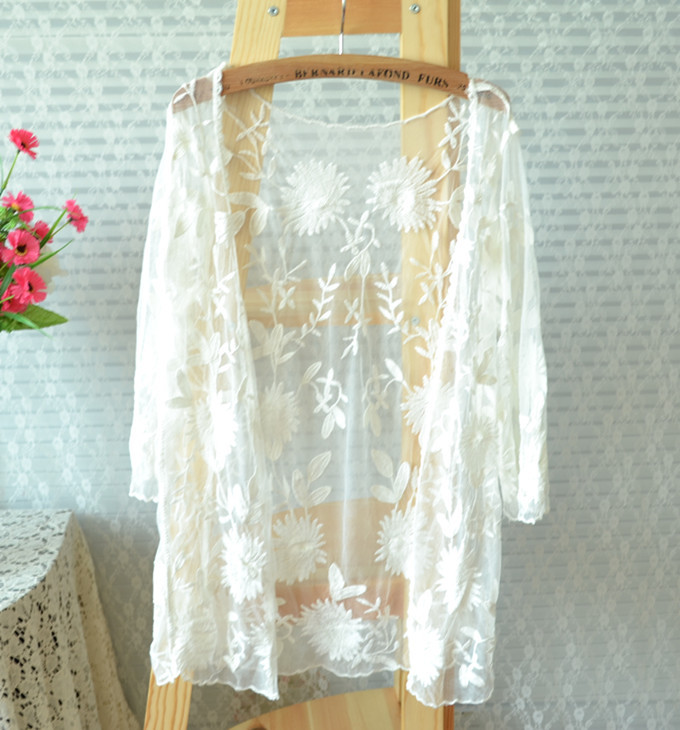 Summer Women Sheer Lace Embroidery Long Sleeve Crochet Vintage Blouse Cardigan Outerwear Beach Dress Sunscreen Bikini Cover Ups - happy coming store