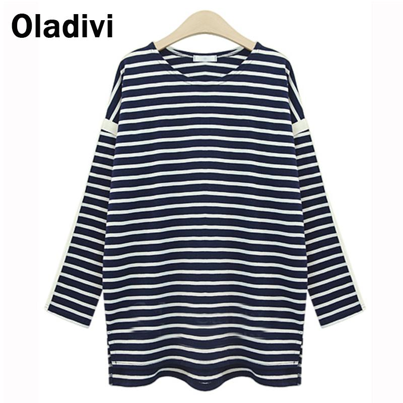 5XL Plus Size Clothes 2016 New Fashion Womens Tops Tees Lady Casual O-Neck T-Shirt Long Sleeve Striped T Shirts Blusas Femininas - Oladivi official store