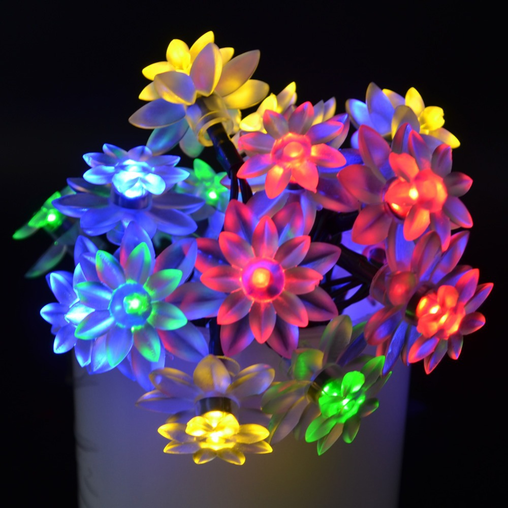 5 Color 20 LEDs 4.8M 16ft Length Flower LED Solar String Lights For Christmas Tree Party Garden Decoration String Fairy Lamp(China (Mainland))