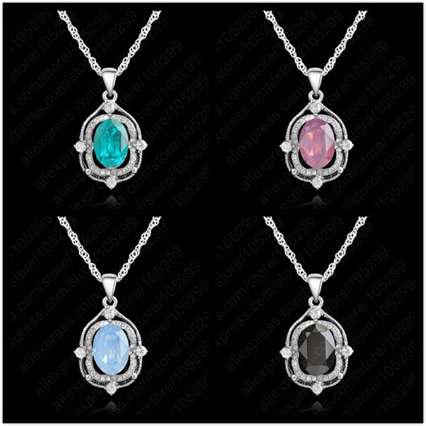 1PC Fast Free Ship Rock Bottom Price Elegant 925 Solid Silver Cubic Zirconia Pendant Neckalces Wedding Engagement Bridal Jewelry(China (Mainland))