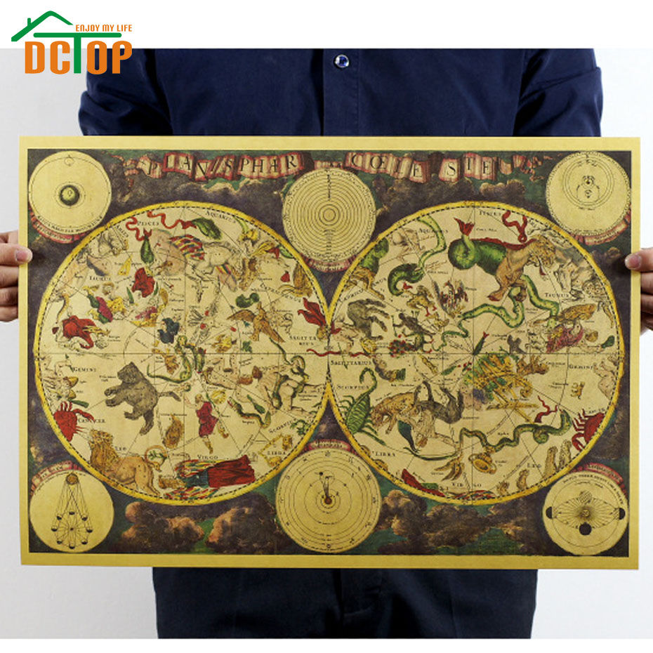 DCTOP Painting Vintage Ancient Zodiac Constellation Map Poster Kraft Paper Retro Decorative Wall Stickers Home Decor(China (Mainland))