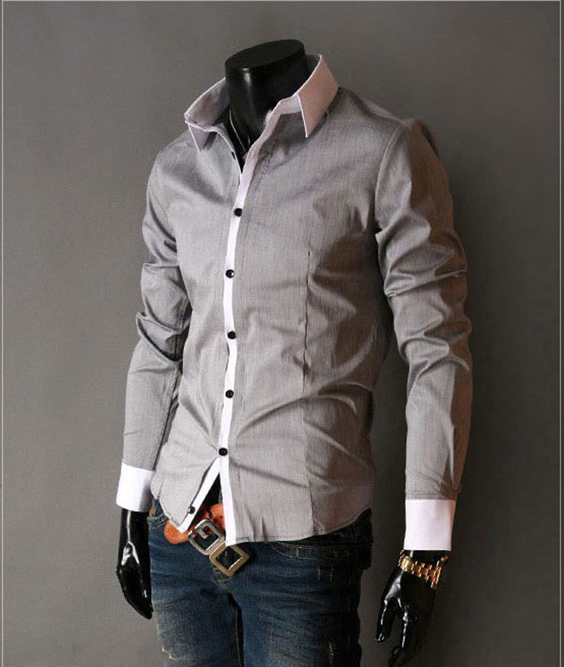 Mens slim fit dress shirts with solid long sleeve white for Men s trim fit dress shirts