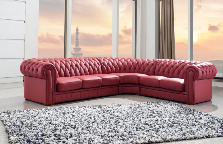Chesterfield sofa with bonded leather sectional sofa Red(China (Mainland))