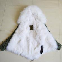 Fashion high quality big raccoon fur collar hooded white fox fur coats Mr mrs real fur jacket