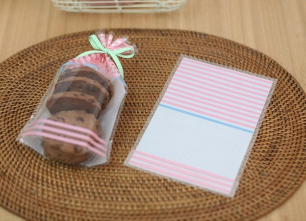 Wholesale 12x18cm Pink Striped Gift Packing bag Cute Snap Food Pouch Biscuit bag (500pcs) Free shipping(Hong Kong)