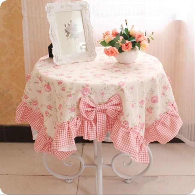 XS pastoral table cloth thicken cotton with linen bow printed flower multi-purpose towels tablecloth tea table cover decoration(China (Mainland))