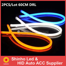 2PCS/LOT Factory Price High Power 60CM White/Amber LED Daylight Running Light Flexible LED Strip DRL Switchback 2015 Headlight(China (Mainland))