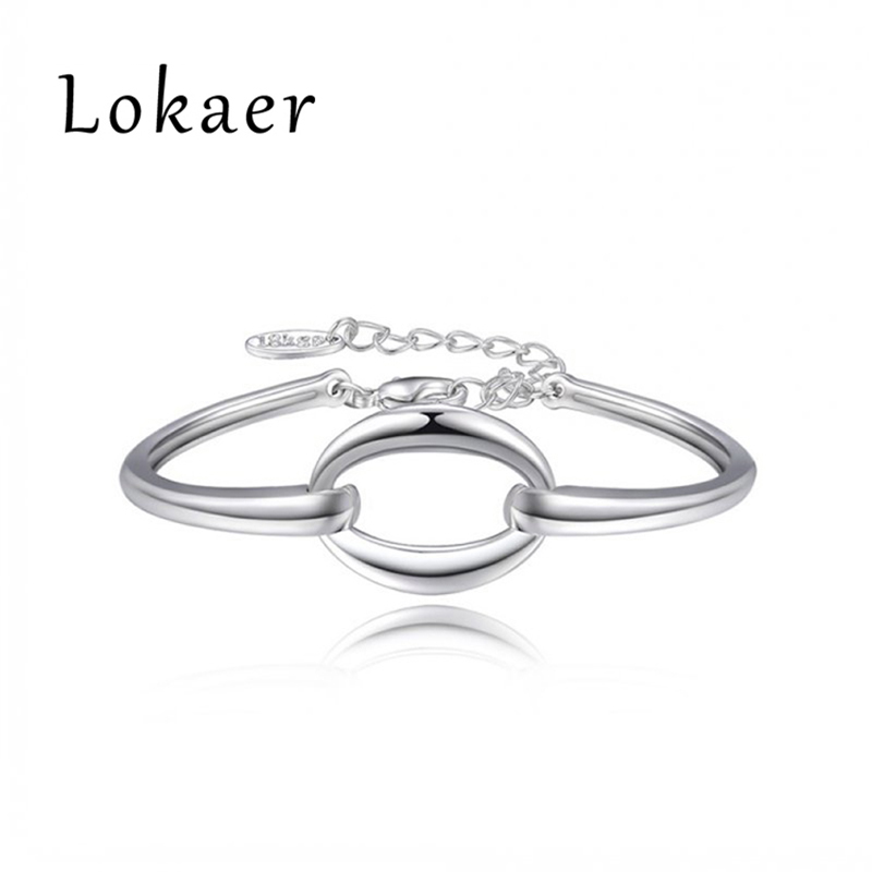 2016 NEW Lokaer Brand Simple White Gold Bracelets For Women Party Statement Jewelry L20603400045a(China (Mainland))