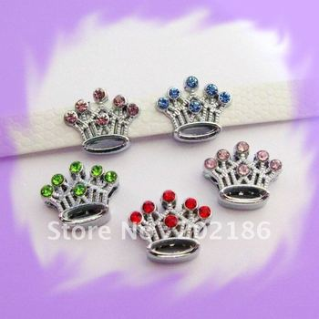 10pcs 10mm Mixed color Crown Slide Charms Fit Pet Dog Cat Tag Collar Wristband