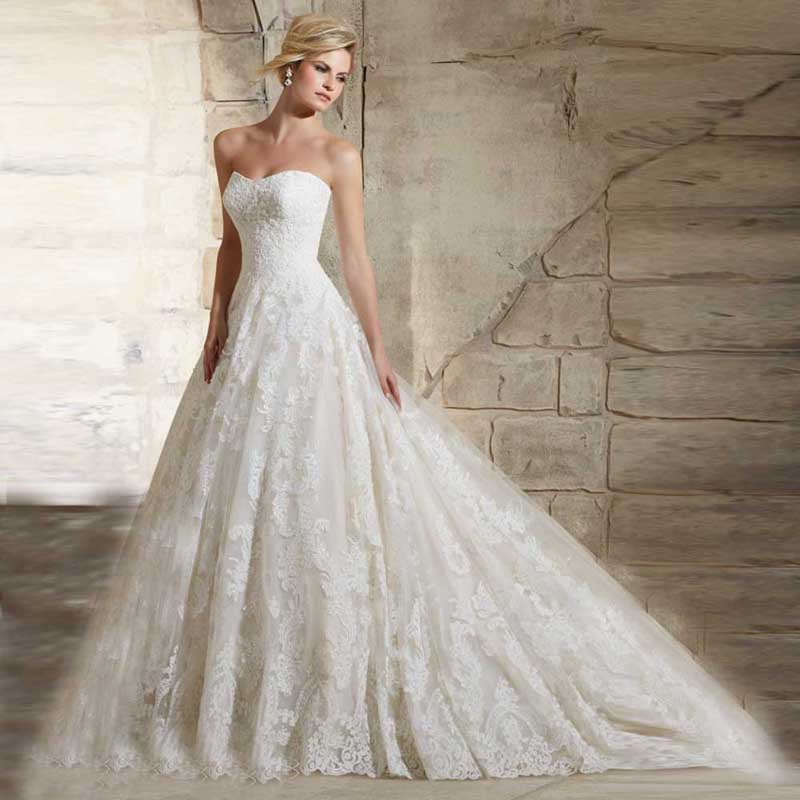 Cathedral Wedding Gowns: 2016 Cathedral Train Sweetheart Neck Full Appliques Lace
