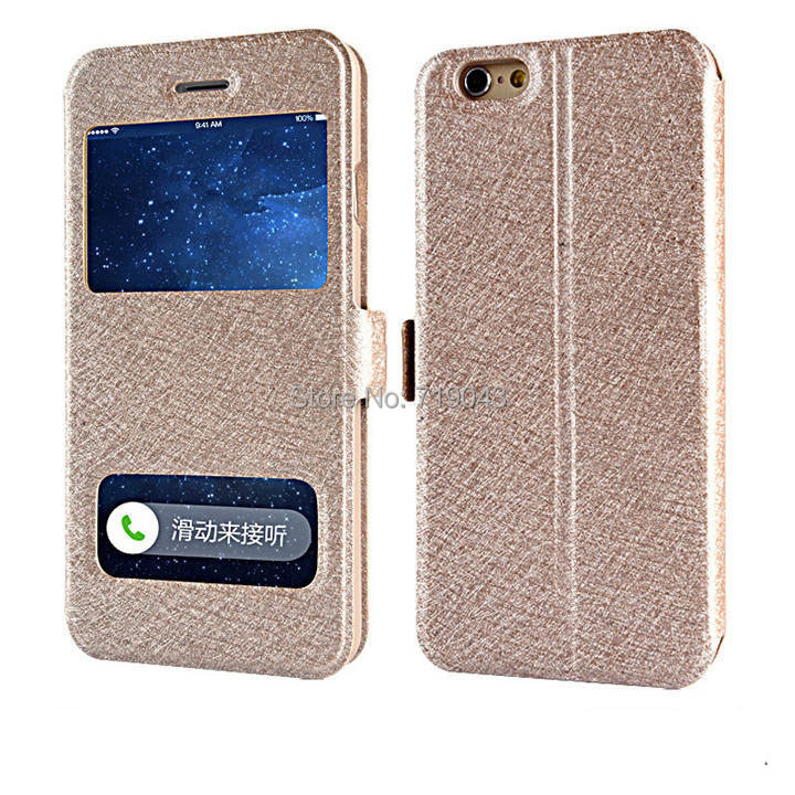 pu luxury leather cell phone case apple iphone6/6 pluswallet flip cover open window view protective skin - March_e-store store
