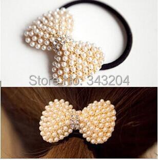 High quality cheap Bowknot pearl diamond head hair circle elastic hair accessories 1119 Headwear hello kitty hair accessories(China (Mainland))