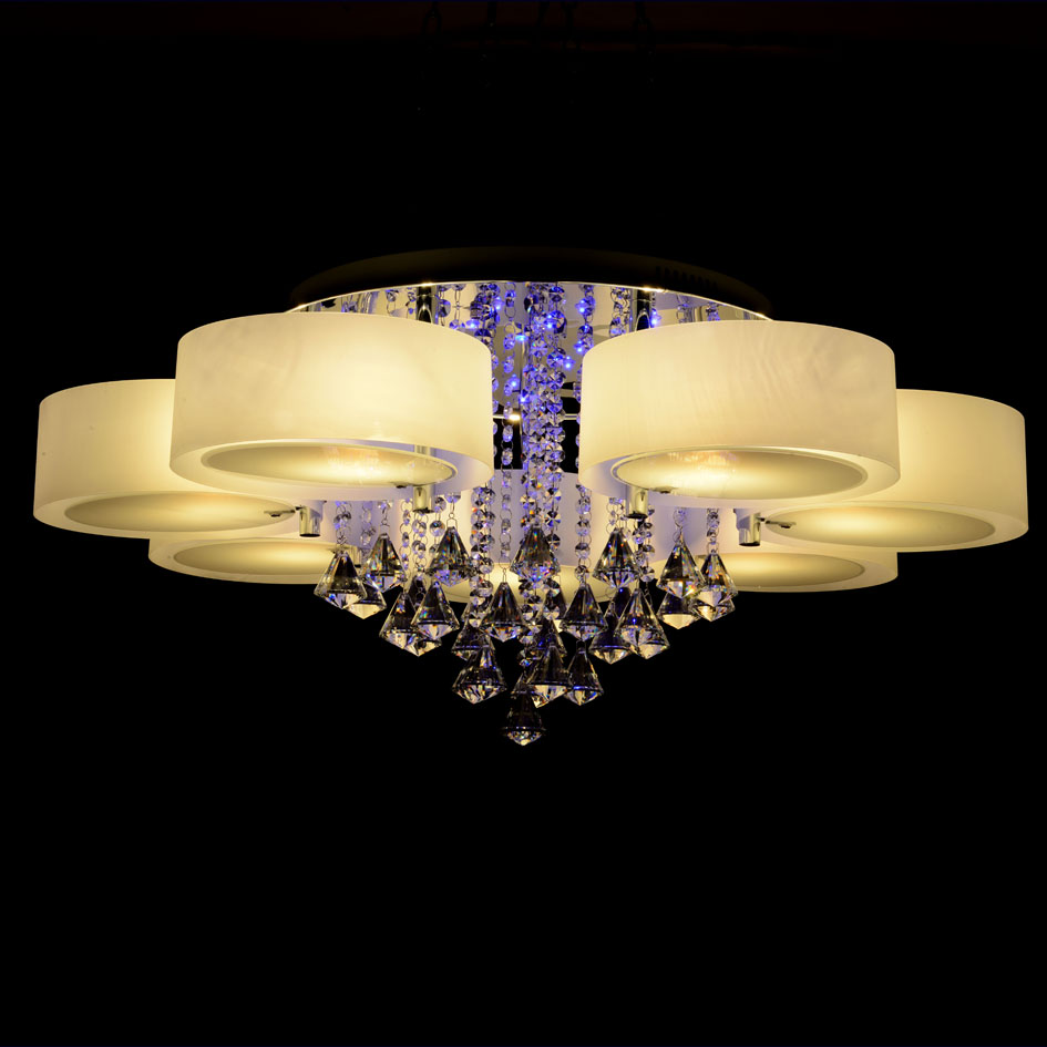 RGB Modern Chandelier Crystal with Remote Control 7 Lights Led Chandeliers Light for Bed Living ...