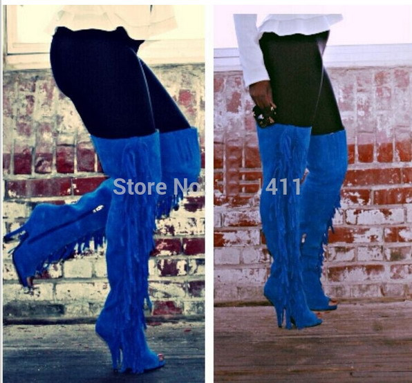 boots goth Picture - More Detailed Picture about Blue suede fringe ...